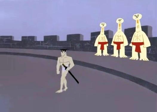 samurai jack y los tres arqueros ciegos