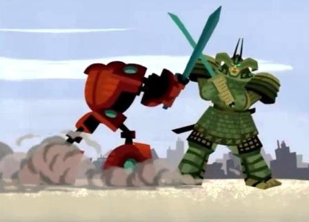 samurai jack robo samurai contra mondobot